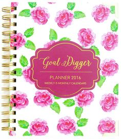It's hard to pick a cover. Obsessed with the new Goal Digger Planner - January - December 2016 Agenda -  Purple Flowers Version