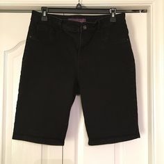 "Gloria Vanderbilt black denim shorts These are denim, jean like black shorts. Size 10. Excellent condition. 10"" inseam. 75% cotton, 23% polyester and 2% spandex. Gloria Vanderbilt Shorts Jean Shorts"