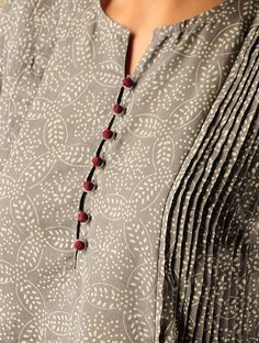 Grey-Beige-Red Katazome Dyed Pintuck Cotton Kurta - All About Neck Designs For Suits, Neckline Designs, Dress Neck Designs, Blouse Designs, Salwar Neck Patterns, Salwar Pattern, Churidar Designs, Kurta Designs Women, Kurta Neck Design