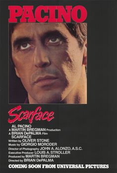 High resolution official theatrical movie poster ( of for Scarface Image dimensions: 2012 x Directed by Brian De Palma. Starring Al Pacino, Steven Bauer, Michelle Pfeiffer, Mary Elizabeth Mastrantonio Al Pacino, Scarface Film, Scarface Poster, Hd Movies, Movies Online, Movies And Tv Shows, Movie Tv, Plane Movies, Entertainment