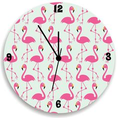 Flamingo Wall Clock Children Wall Clock With by KidODesignStudio
