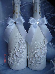 """Свадебные аксессуары ручной работы. Ярмарка Мастеров - ручная работа. Купить Оформление шампанского  """"Белые цветы"""". Handmade. Белый"""