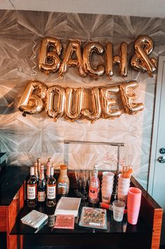 Bachelorette cocktail area - - Audrey Madison Stowe is sharing her full guide to her Bachelorette in Las Vegas. The ultimate girls weekend itinerary for partying it up in Vegas. Click her. Bachlorette Party, Vegas Bachelorette, Bachelorette Party Decorations, Bachelorette Party Dresses, Unique Bachelorette Party Ideas, Bachelorette Party Playlist, Engagement Party Favors, Las Vegas Party, Engagement Party Decorations