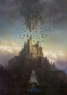 Ideas fantasy art landscapes castles environment for 2019 Fantasy Kunst, Fantasy City, Fantasy Castle, Fantasy Places, Fantasy World, Dark Fantasy, Fantasy Artwork, Fantasy Concept Art, Fantasy Art Landscapes