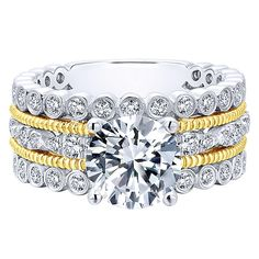 18K Yellow and White Gold Stacked Vintage Style Diamond Engagement Ring