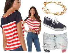4th of July Outfit. Love the stripes.