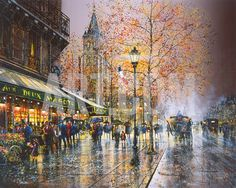 I'm not sure why, but I love the look of rainy street scenes in paintings. Paris, Saint-Germain-des-Pres Giclee Print by Guy Dessapt at Art.com