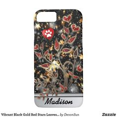 Vibrant Black Gold Red Stars Leaves Hearts Case-Mate iPhone Case