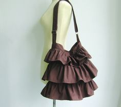 Chocolate Cotton Twill Ruffle Bag by tippythai on Etsy, $39.00