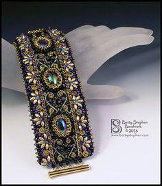 Anastasia Cuff Bracelet - Bead&Button Show Bead Embroidered Bracelet, Embroidery Bracelets, Beaded Cuff Bracelet, Bead Embroidery Jewelry, Beaded Jewelry Patterns, Bracelet Patterns, Beaded Embroidery, Cuff Bracelets, Bead Embroidery Patterns