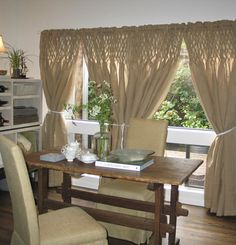 lovely burlap smocked curtains--would be perfect in my dining room.