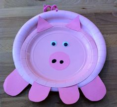 Paper plate piggy for the Piggie Party! Preschool Color Crafts, Farm Crafts, Daycare Crafts, Classroom Crafts, Craft Activities For Kids, Toddler Crafts, Projects For Kids, Crafts For Kids, Arts And Crafts