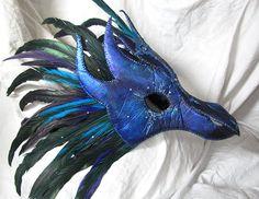 Borealis  Night Blue Dragon Mask Wearable Art by LaPetiteMascarade