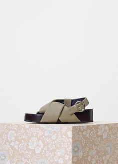 Boxy Twist Slingback with Stacked Leather Fusbet in Nappa Lambskin - Céline