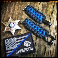 """Apple Watch Band done in the Zipper weave and """"thin blue line"""" style #police #tbl #thinblueline knottydans.com #paracord #whatsonyourwrist we accept visa/master card just click on pay with PayPal and choose pay with credit card no pay pal required  #tactical #edc #manshit #watchband #watch #dtom #molonlabe"""