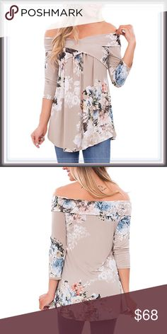 🆕 Off The Shoulder Criss Cross Floral Blouse ➖SIZE: Small, Medium, Large, XL/1X, XXL/2X  ➖STYLE: A khaki off the shoulder top that has a fold over Criss Cross look along with a gorgeous Floral pattern   ❌NO TRADE   085896 Tops Blouses
