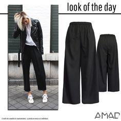 Maxi pantalón holgado, elástico en cintura, bolsas laterales