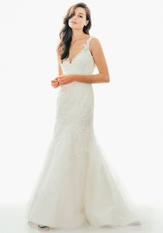 Judd Waddell / Leighton / Wedding Gown Fit and Flare Chantilly dress with Alencon and Tulle Overlay, Sheer Neckline