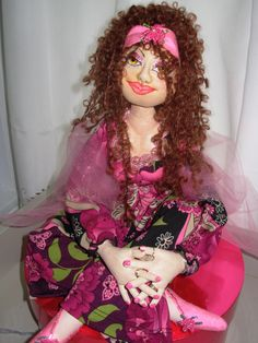 this is Amelia ..the second art doll I made ..i used Patti culeas pattern from her first book Creative Cloth dolls .