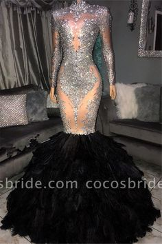 Newarriavldress custom made Glamorous Sliver Seuqins High Neck Long Sleeves Fur Mermaid Prom Dresses in high quality, breathtaking Prom Dresses with High Neck is just perfect for all angles! Black Girl Prom Dresses, Cute Prom Dresses, Prom Dresses Long With Sleeves, Prom Outfits, Mermaid Prom Dresses, Girls Dresses, Wedding Dresses, Dresses Uk, Dress Long