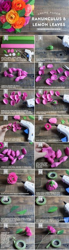 Make a Crepe Paper Ranunculus Bouquet with Lemon Leaves / Flores de papel diy Fake Flowers, Diy Flowers, Fabric Flowers, Origami, Diy Fleur Papier, Fleurs Diy, Tissue Paper Flowers, Paper Flower Tutorial, Handmade Flowers