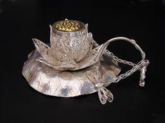 Darling, lotus have some tea… by Victoria Lansford Tea Strainer, Tea Infuser, Tea Cup Saucer, Tea Cups, Lotus Tea, Buy Tea, Cuppa Tea, How To Make Tea, Bronze