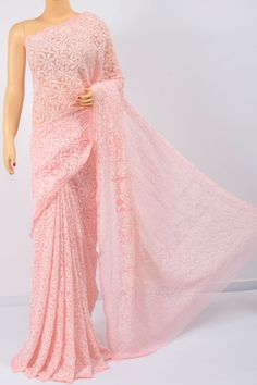 Peach Color Allover Jaal, Heavy Palla Hand Embroidered Lucknowi Chikankari Saree (With Blouse - Georgette) Peach Color Saree, Indian Reception Outfit, Saree Floral, Drape Sarees, South Indian Sarees, Indian Fashion, Womens Fashion, Saree Shopping, Indian Designer Outfits