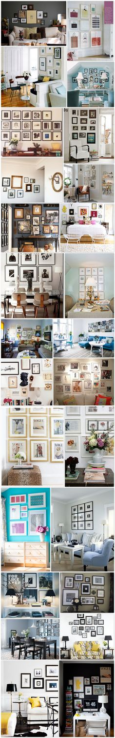 LOTS o' Wall Decor Ideas - it's in Spanish but there are some great layouts for frames (good design is universal, right?)
