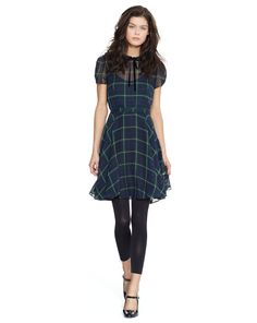 Silk Georgette Tartan Dress - Polo Ralph Lauren Short Dresses - RalphLauren.com