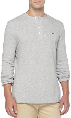 Lacoste Long-Sleeve Waffle-Knit Henley, Gray on shopstyle.com Waffle Knit, Lacoste, Gray, Knitting, Long Sleeve, Sleeves, Mens Tops, T Shirt, Fashion