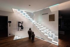 Floating stair treads in glass with LED by Siller Stairs Glass Stairs, Floating Stairs, Amazing Architecture, Modern Architecture, Staircase Design, Stair Design, Cantilever Stairs, Stair Treads, Flooring
