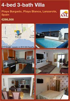 4-bed 3-bath Villa in Playa Burgado, Playa Blanca, Lanzarote, Spain ►€298,500 #PropertyForSaleInSpain