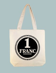 Vintage French 1 Franc Graphic on 15x15 Canvas Tote  by Whimsybags, $12.00