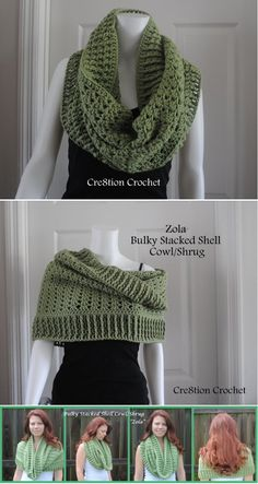 The versatile crochet cowl - it can be worn as a regular cowl, a hooded cowl or even as a shrug! AND IT IS FREE!!! AT: http://cre8tioncrochet.com/2013/07/bulky-stacked-shell-cowl-and-shrug/