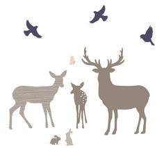 Trees, Deer and Buck Family Wall Decals - Woodland Family Fabric Wall | Eco Wall Decals