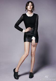 Alexa Chung. Leather & lace #fashion #style #alexachung
