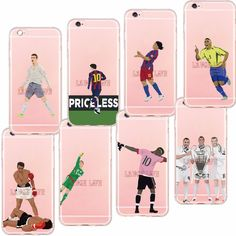 Ultra Thin Football Clear Phone Cases Coque for iPhone 6S 6Plus 5S SE Football Superstar Winner Messi Ronaldo Rooney Back Cover