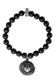 King Baby Studio Ladies' 8mm Onyx Bracelet With Lg. Silver Heart Coin