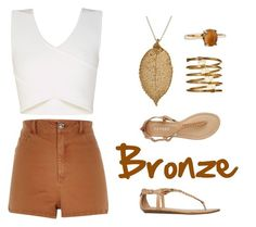 """Bronze"" by elenikitt on Polyvore featuring River Island, BCBGMAXAZRIA, Report, Charming Life and Nashelle"