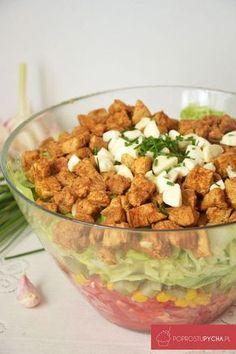 Sałatka gyros zmozzarellą Mozzarella, Guacamole, Italian Recipes, Food Inspiration, Feta, Salad Recipes, Food To Make, Clean Eating, Food And Drink