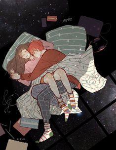 Cute Couple Sleeping, Anime Couples Sleeping, Anime Couples Hugging, Anime Couples Cuddling, Romantic Anime Couples, Cute Couple Drawings, Cute Couple Art, Anime Love Couple, Anime Couples Drawings