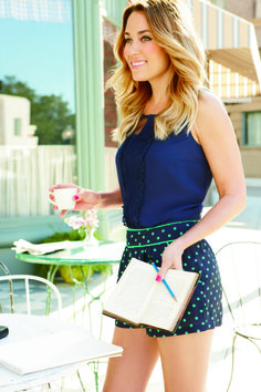 lc lauren conrad: navy & lime polka dot shorts + navy tank