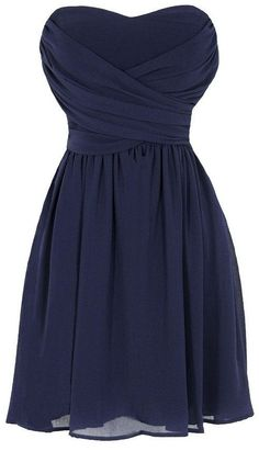 Navy Strapless Chiffon Dress ♥ I LOVE the bodice of this dress, it just needs maybe some lace sleeves.