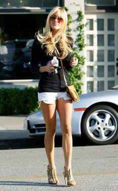 Kristin Cavallari white jean shorts, long sleeve black top