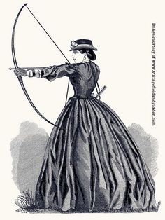 Champion Archer of England: A black and white illustration of a female archer from an 1865 copy of Arthur's magazine in the collector's personal collection. Victorian Women, Victorian Era, Victorian Fashion, Vintage Fashion, Steampunk, Historical Costume, Historical Clothing, Civil War Fashion, Civil War Dress