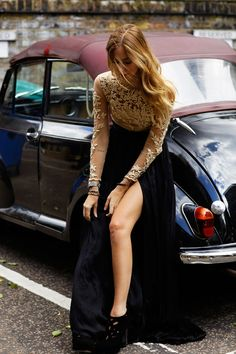 Black long skirt with nude lacy top long sleeve