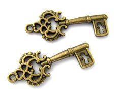 Skeleton Key Charms / Steampunk Key Pendants  by BaublesOfFun, $1.95