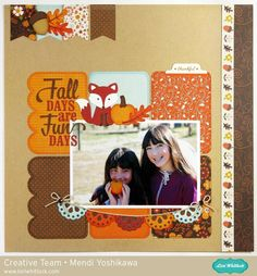 Echo Park The Story of Fall Layout by Mendi Yoshikawa - Scrapbook.com - Create a grid of patterned paper rectangles for a stunning fall background.