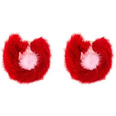Wild And Woolly red rendezvous fur earrings (5.090.285 IDR) ❤ liked on Polyvore featuring jewelry, earrings, red, red jewelry, red earrings, red jewellery, earring jewelry and fur earrings