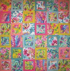 Kaffe Fassett Spring Floral Parade Kit, 66x66 inches, pattern in Kaffe Fassett's 'Quilt in the Sun'